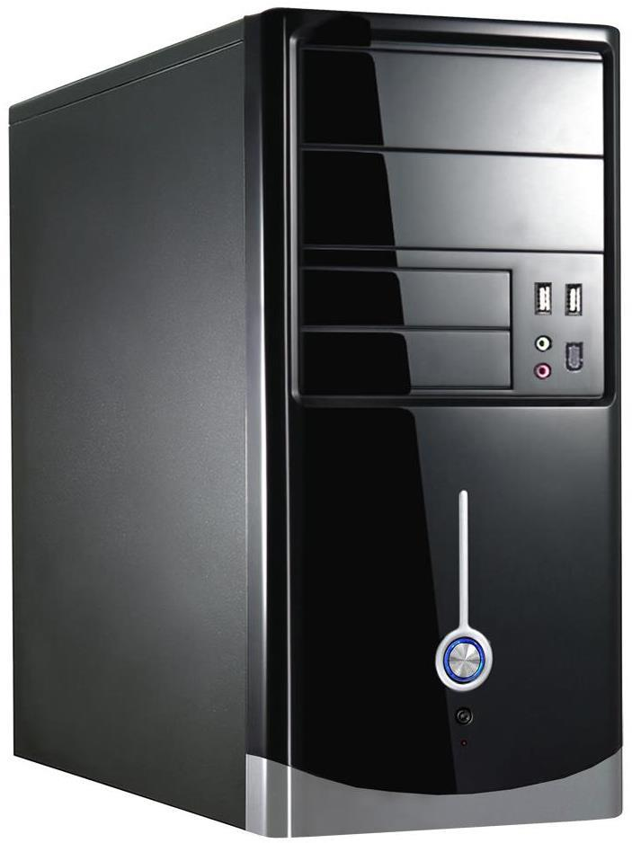 Cit 1015B1015BS Gloss Black And Silver Micro ATX Case
