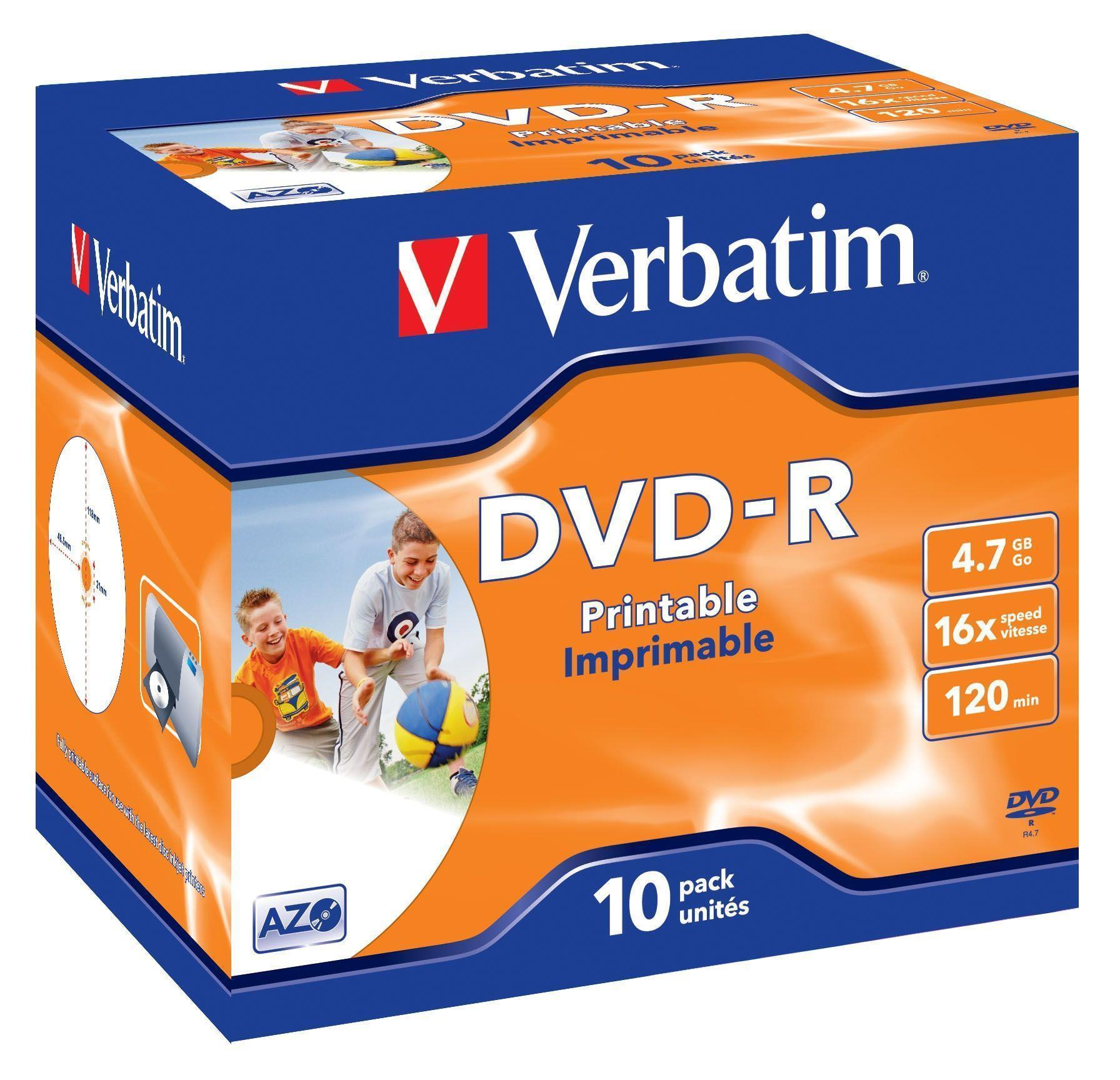 Verbatim 43521 DVD Recordable Media - DVD-R - 16x - 4.70 GB - 10 Pack Jewel Case (120mm)