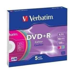 Verbatim 43556 DVD Recordable Media - DVD+R - 16x - 4.70 GB - 5 Pack Slim Case (120mm)