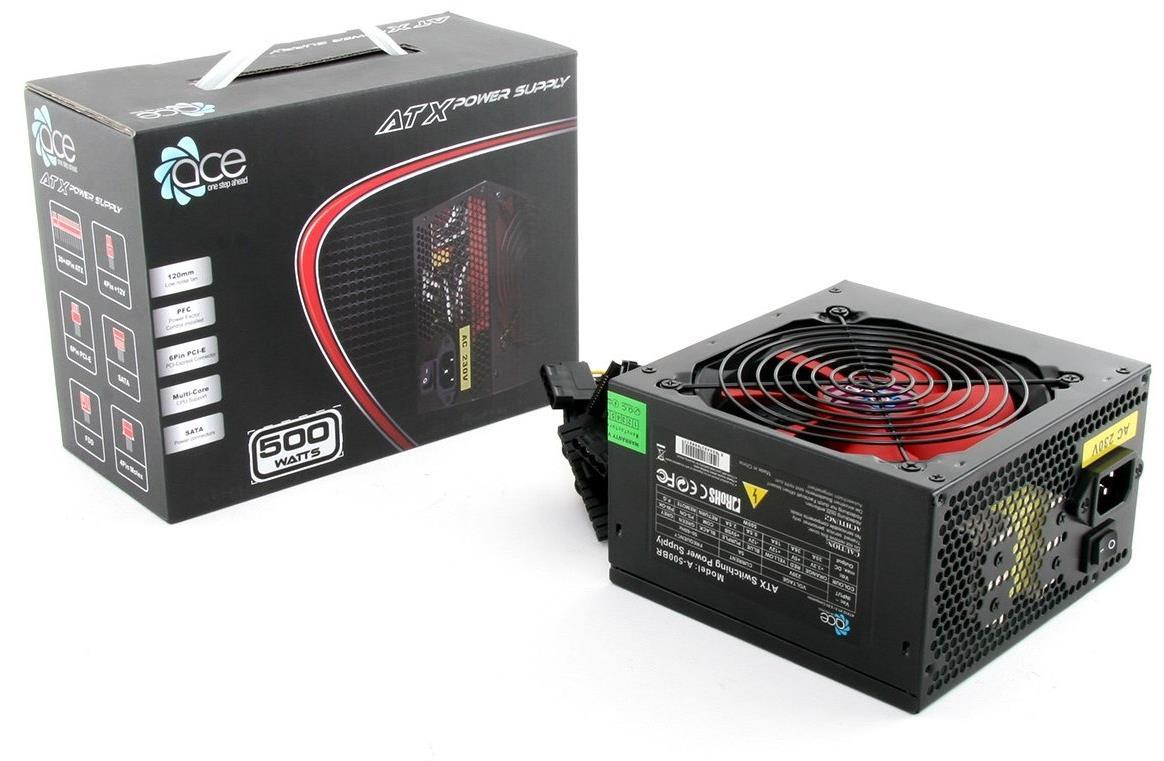 500W Ace Value Black Psu Power Supply With 12Cm Red Fan