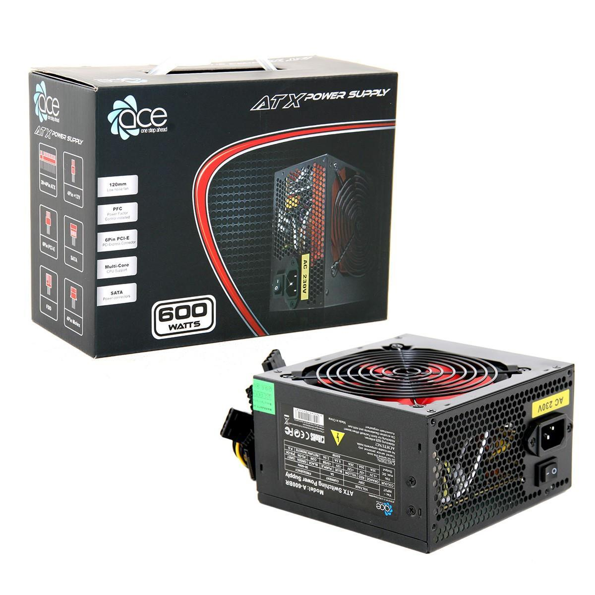 600W Ace Value Black PSU 24 Pin with 12cm fan SATA Power Supply