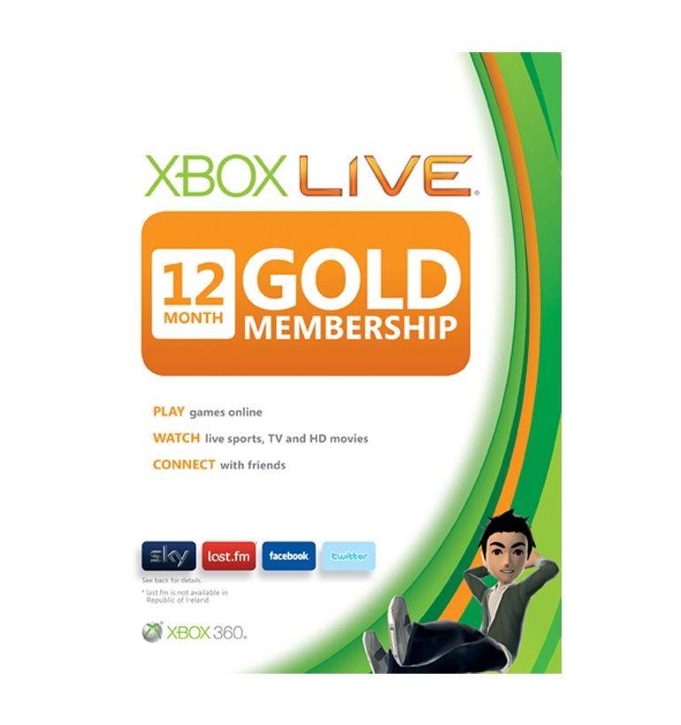 Microsoft Xbox Live Gold 12 Month Membership Card Sleeves
