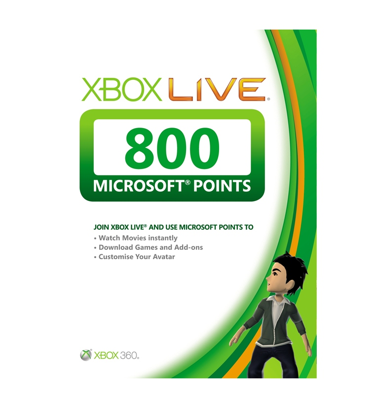 Microsoft Xbox Live 800 Points Card