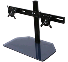 BTech BT7332 Aviball Flat 2 Screen Desk Mount With Glass Base Black