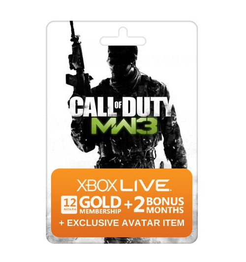 Microsoft Xbox Live COD MW3 Themed 12 Months Gold Membership + 2 Free Months + Exclusive Avatar Item