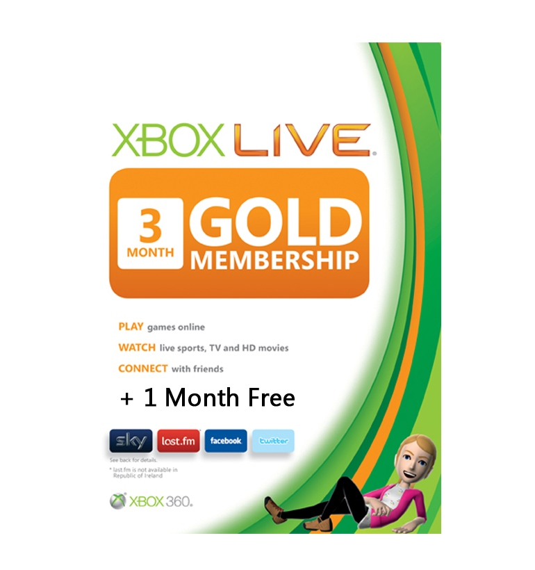 Microsoft Xbox Live 3 Month Gold Card + 1 Month Free
