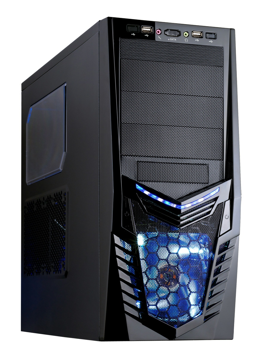 Ace Fighter Case Screwless Black Interior with 2 x 12CM Blue LED Fans