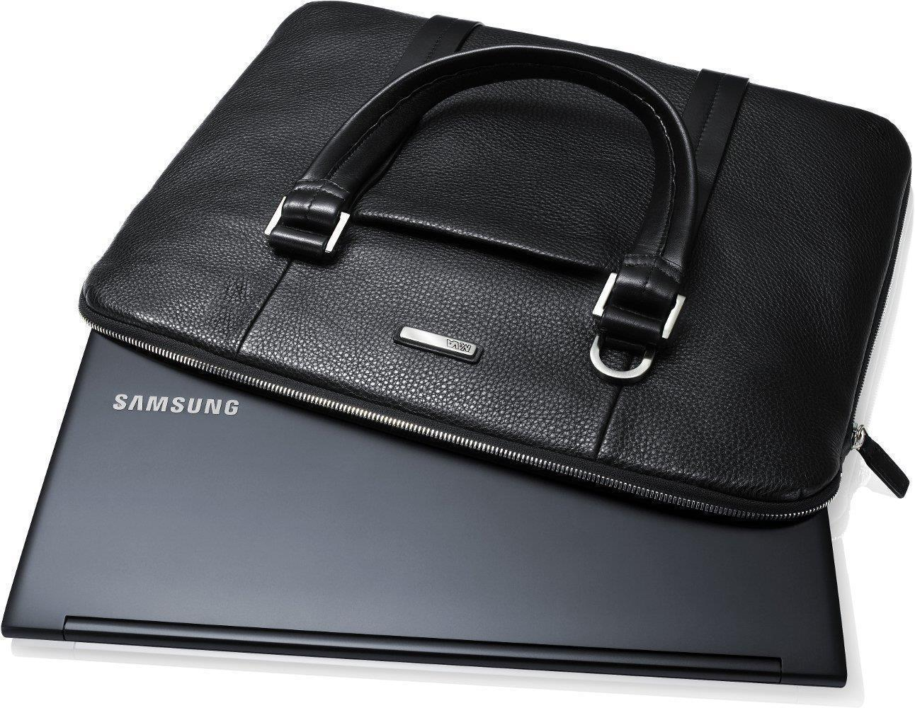 "Genuine NAVA Samsung Black Leather 13.3"" - 15.6"" Notebook Carrying Case - RRP £99.97"