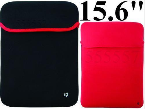 "Luxury Neoprene Slip Case 15.6"" Laptop Reversible sleeve [BLACK/RED]"
