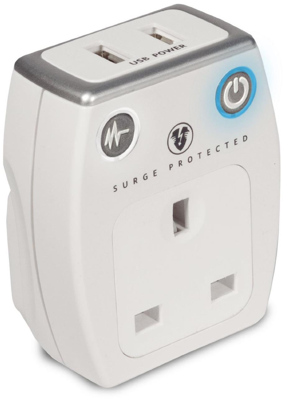 Masterplug Surge Protected Power Mains USB Charging Socket - White