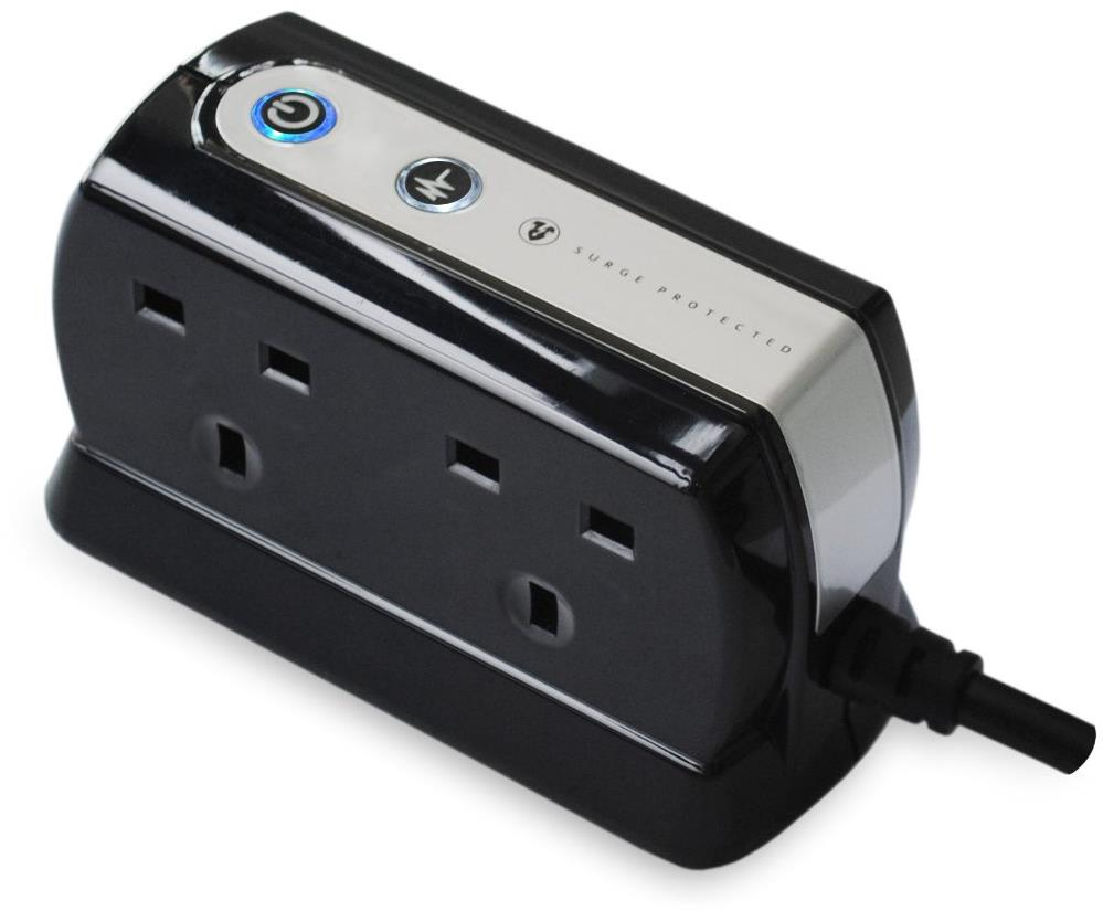 Masterplug Black 4-Way Surge Protected Power Socket with 2x USB Ports