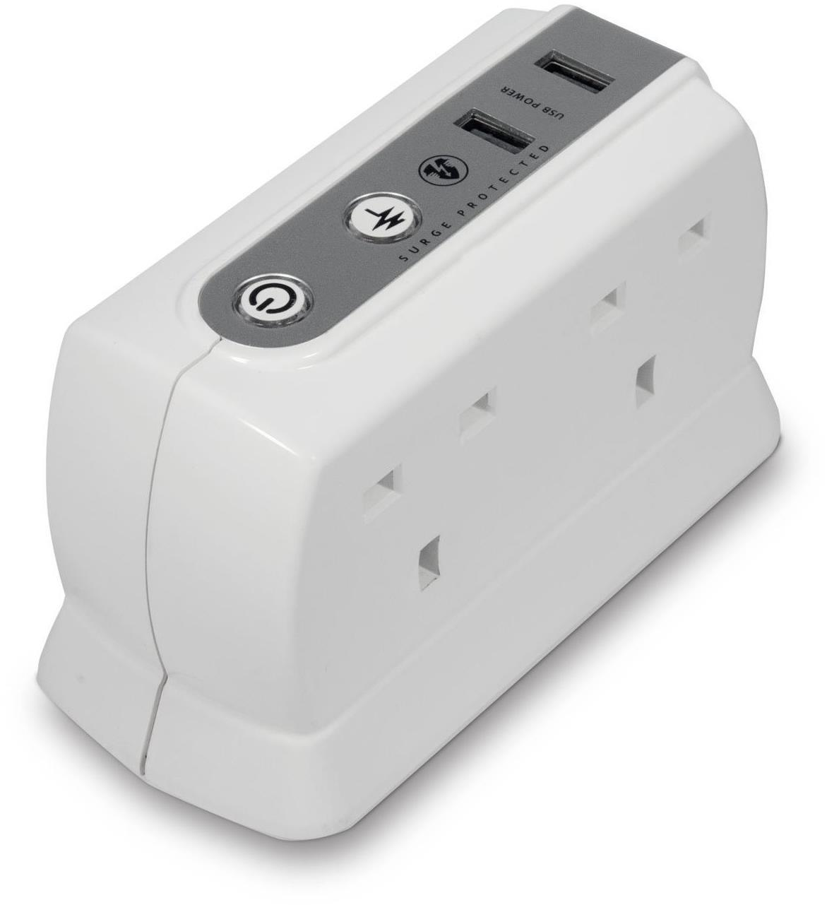 Masterplug White 4-Way Surge Protected Power Socket with 2x USB Ports