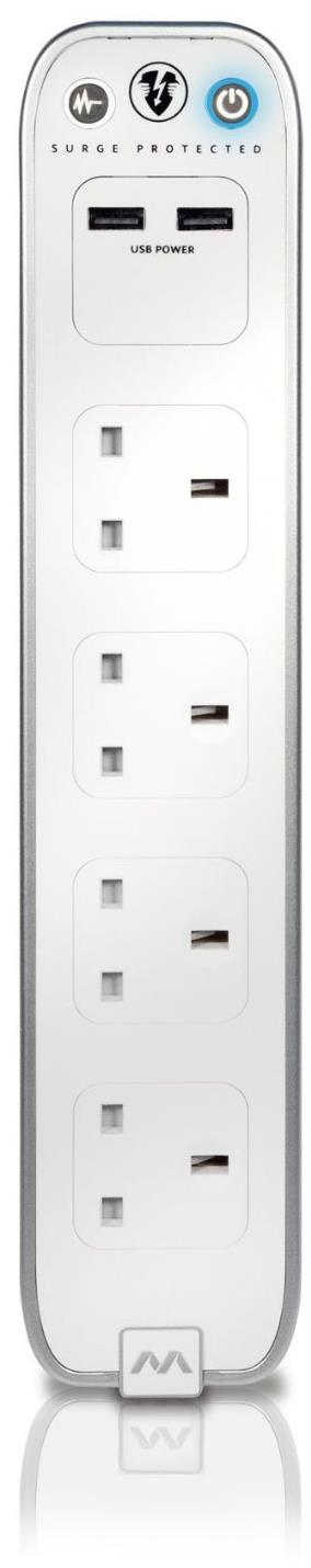 Masterplug 4-Way & 2 USB White Surge Protected Power Socket With 2M Extension Lead