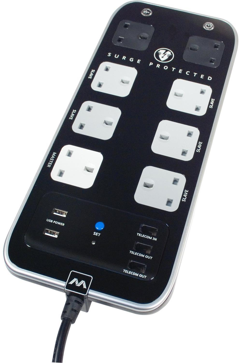 Masterplug 8-Way Surge Protected Power Socket - Black