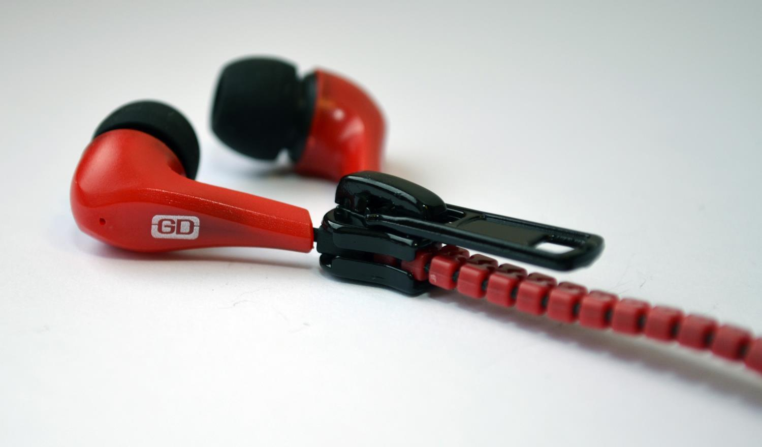 Gemini Zippy Tangle Free In Ear Zip Headphones (Red)