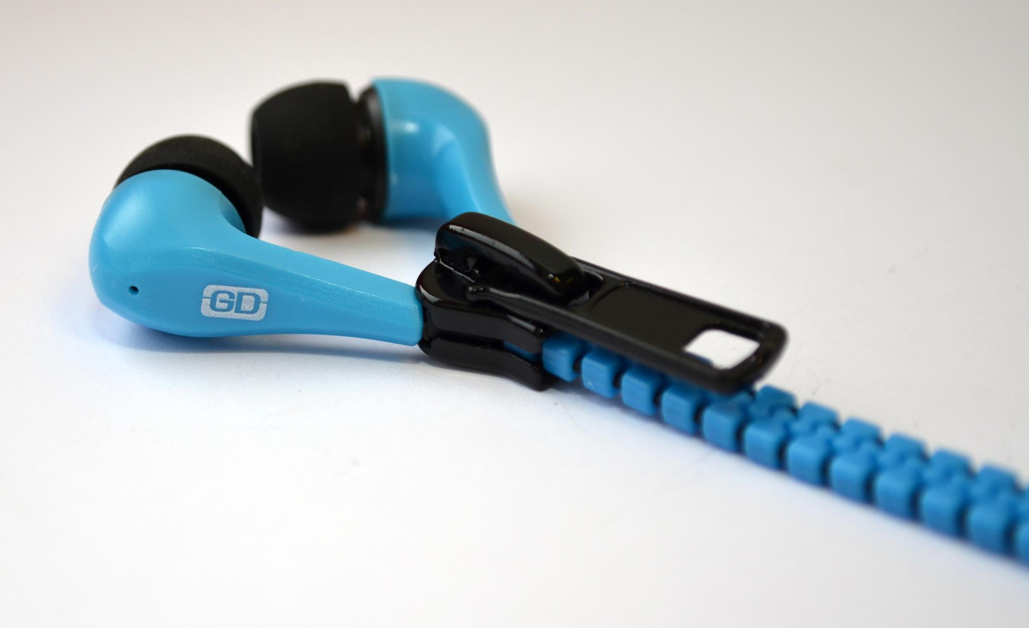 Gemini Zippy Tangle Free In Ear Zip Headphones (Blue)