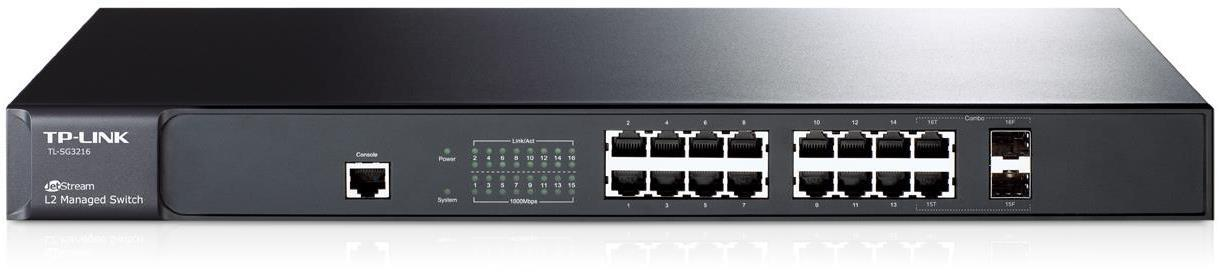 TP-Link TL-SG3216 JetStream 16-Port Gigabit L2 Managed Switch with 2 Combo SFP Slots