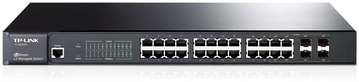 TP-Link TL-SG3424 JetStream 24-Port Gigabit L2 Managed Switch with 4 Combo SFP Slots
