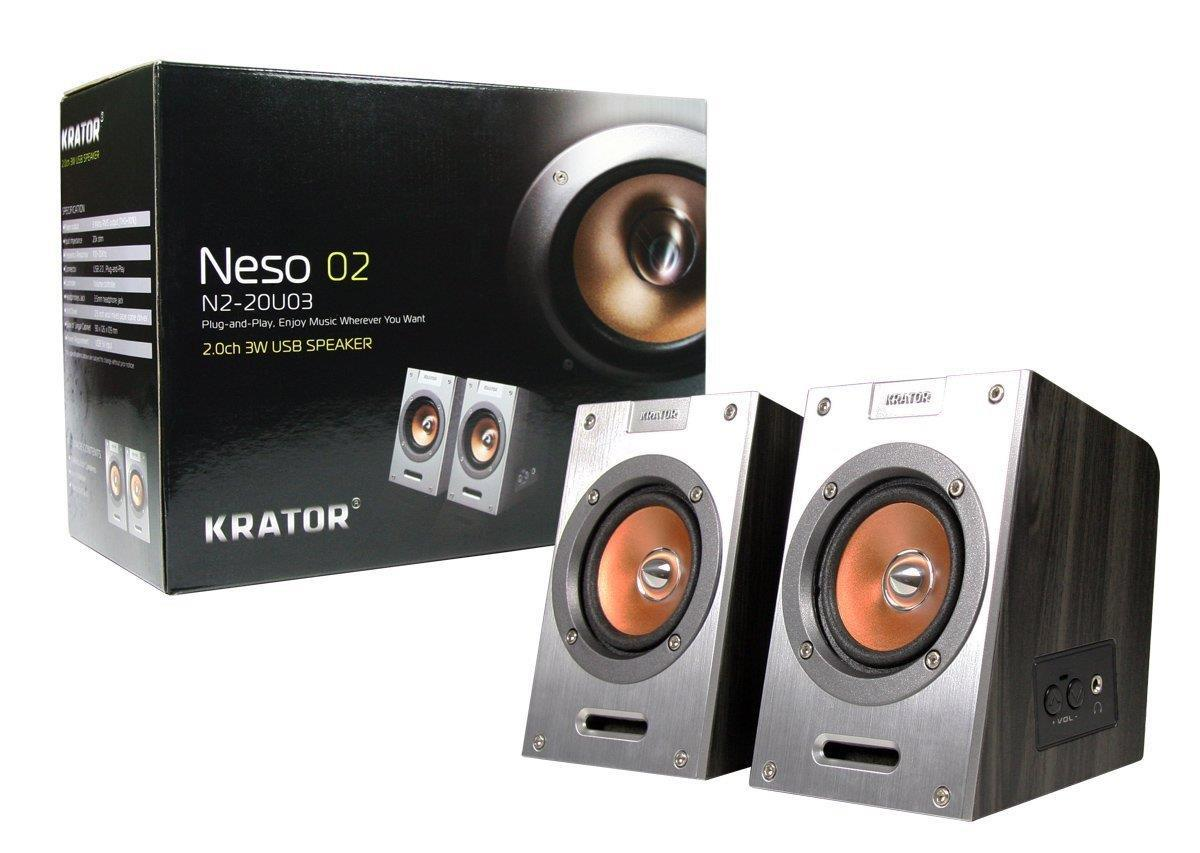 "Krator 2 Channel Wooden PC Computer USB Speaker 2.5"" Wool Mixed Drivers 3W Rms"