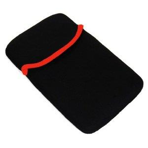 "Neoprene Tablet Computer eReader Black Red Edge Tablet 7"" Slip Case Cover"
