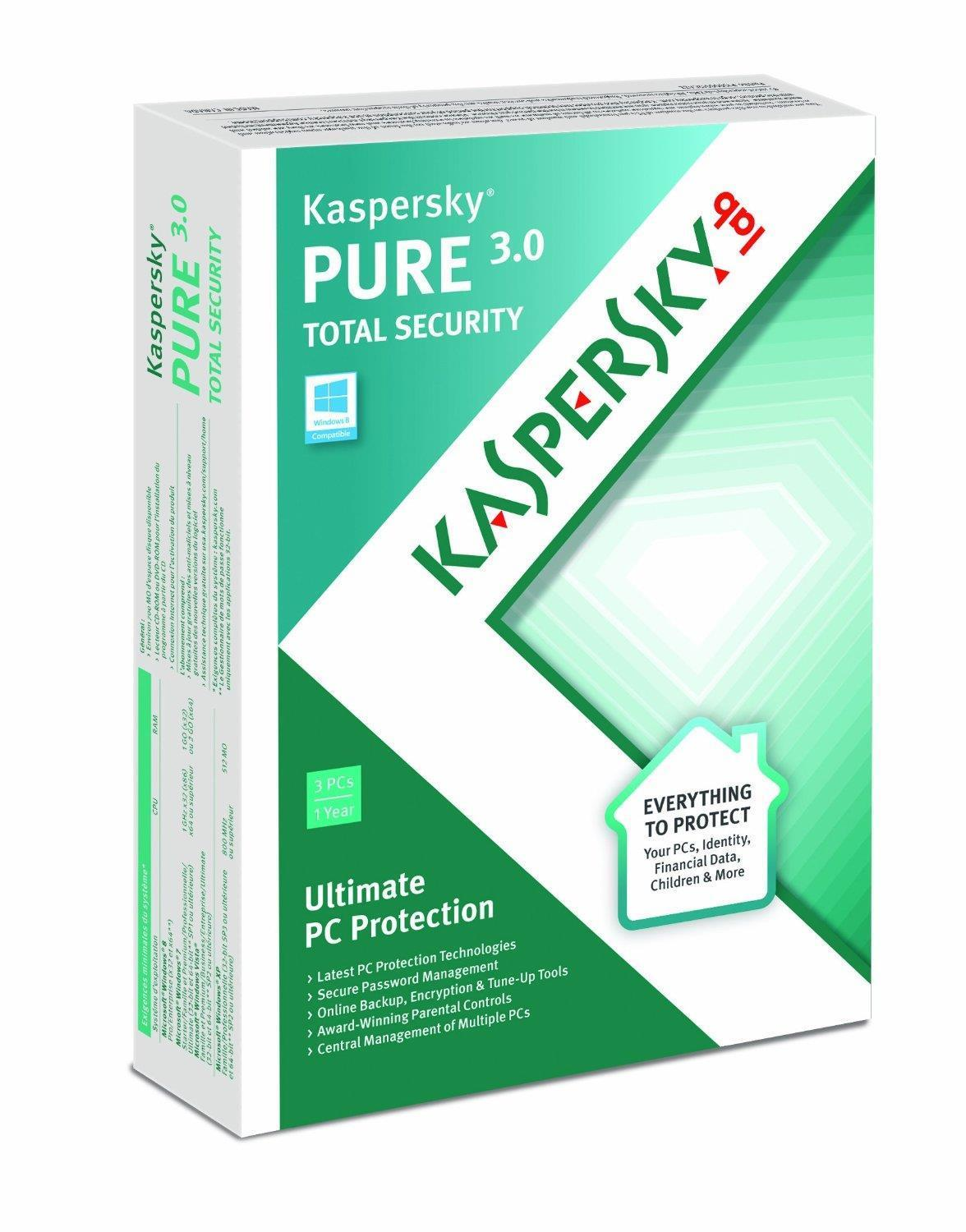 Kaspersky Pure 3.0 Total Security Internet Security Software 3 User 12 Months 1 Year DVD