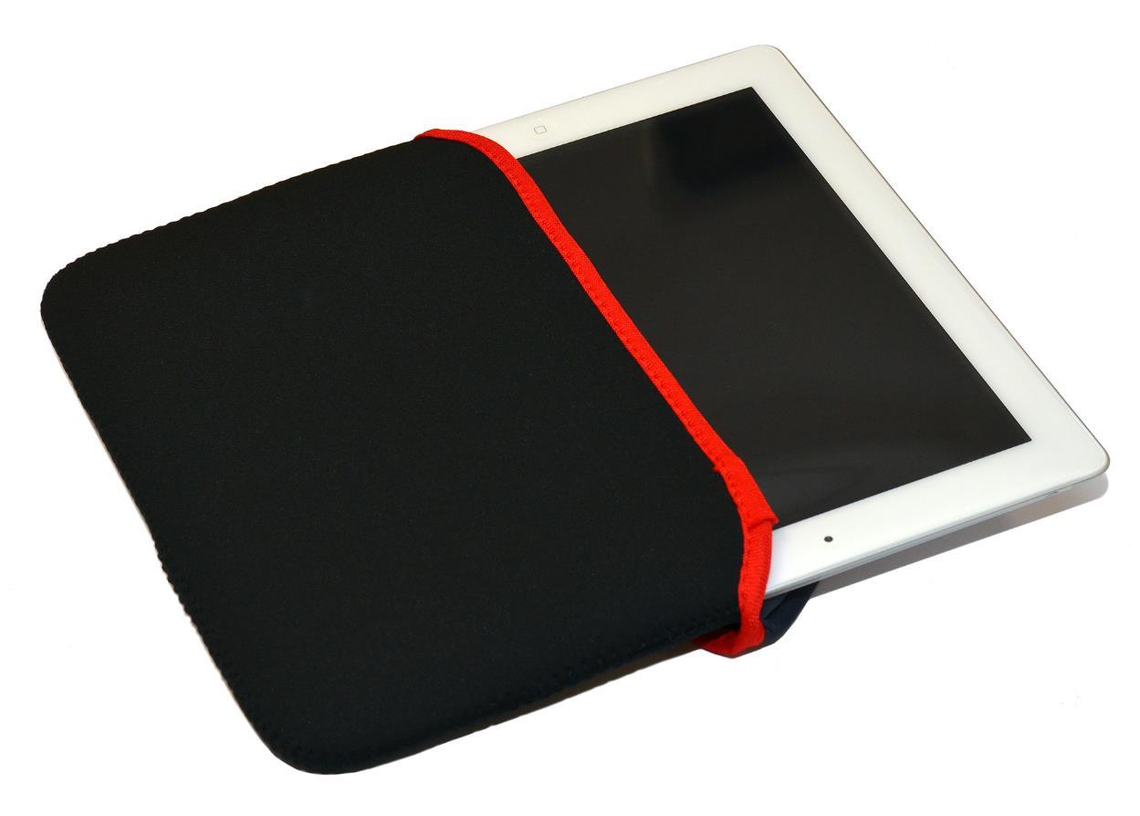 Neoprene Black with Red Edge Slip Case for your Ipad