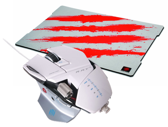 Mad Catz Cyborg R.A.T. 5 (White) + FREE G.L.I.D.E. 5 Surface SAVE £18