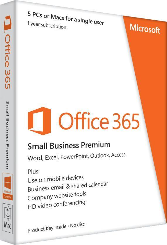 Microsoft Office 365 Small Business Premium (Software2Go) 32/64-bit 12 Month Subscription Licence - 1 User 5 Devices