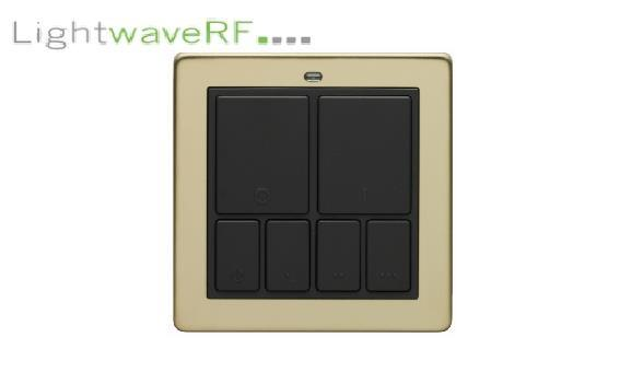 Lightwave Rf Wireless Mood Control Master Wall Switch - Brass
