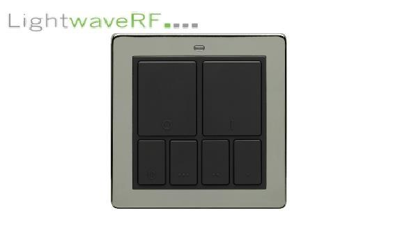 Lightwave Rf Wireless Mood Control Master Wall Switch - Black Chrome