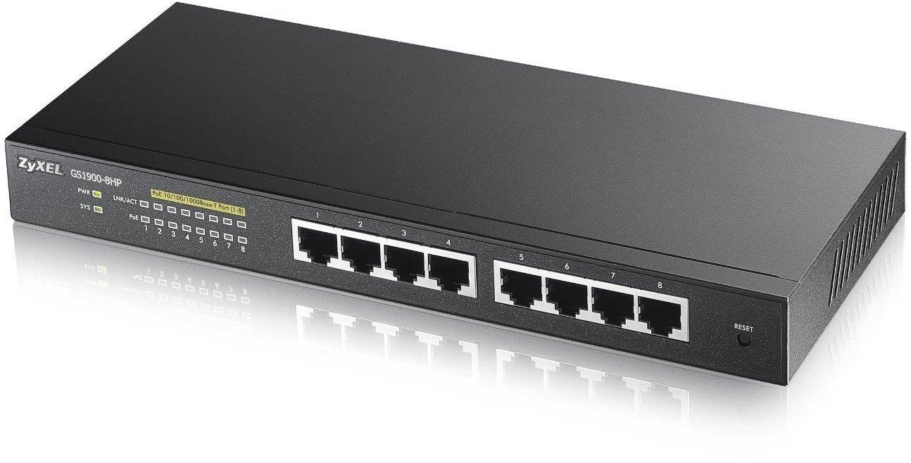 ZyXEL GS1900-8 8 Port Gigabit PoE Manageable Ethernet Switch