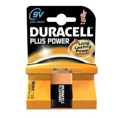 Duracell Plus Power 9v Volt PP3 Rectagular Battery (1x Pack)