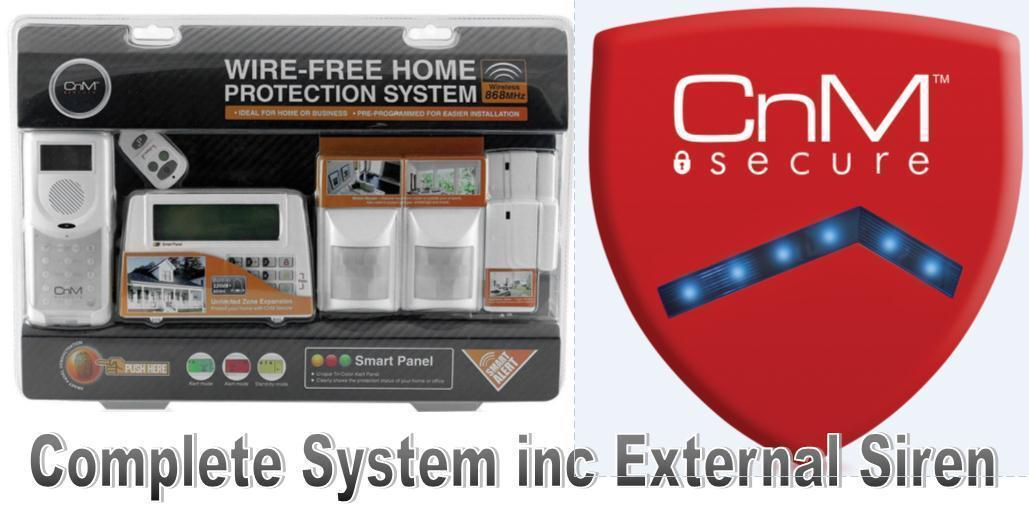 CnM Alarm And Siren Bundle! Fully Wireless Home Protection Burglar Alarm System + External Wireless Siren