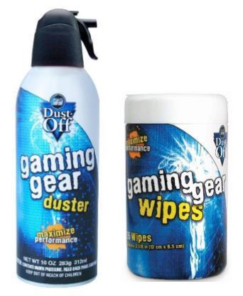 Dust-Off Disposable Gaming Duster & Gaming Gear Wipes