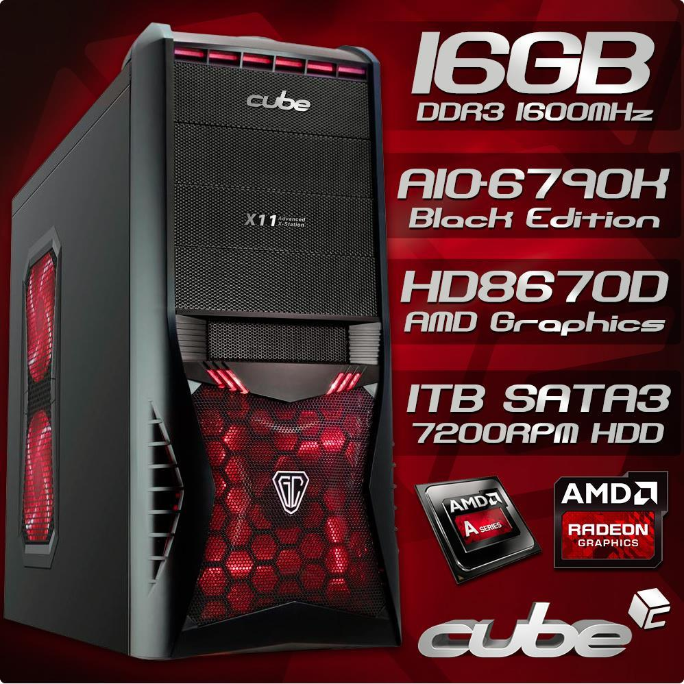 Cube AMD Gaming HIGH SPEC 16GB Quad Core with Radeon HD 8670D Graphics Desktop PC Tower