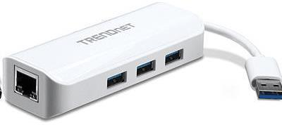 TRENDnet TU3-ETGH3 USB 3.0 to Gigabit Adapter + USB Hub