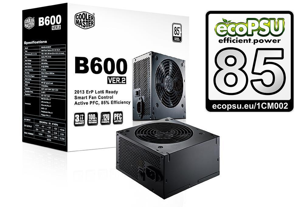 Cooler Master B-Series B600 600W Ver.2 80Plus PSU UK Cables