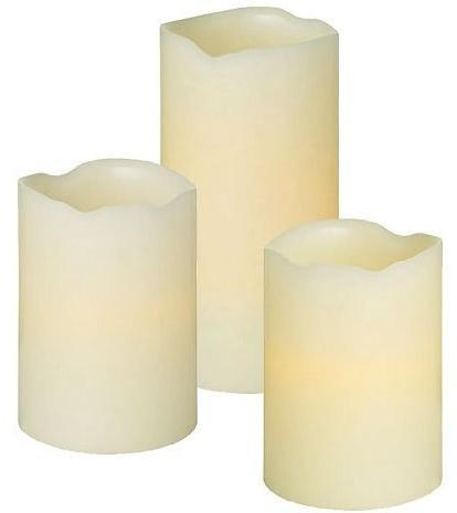 Pack of 3 Real Real Wax LED Flickering Candles Batteries Included