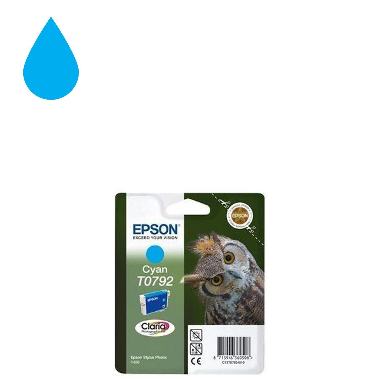Genuine Epson Ink Cartridge Owl Cyan T0792 for Stylus Photo 1400 Printer