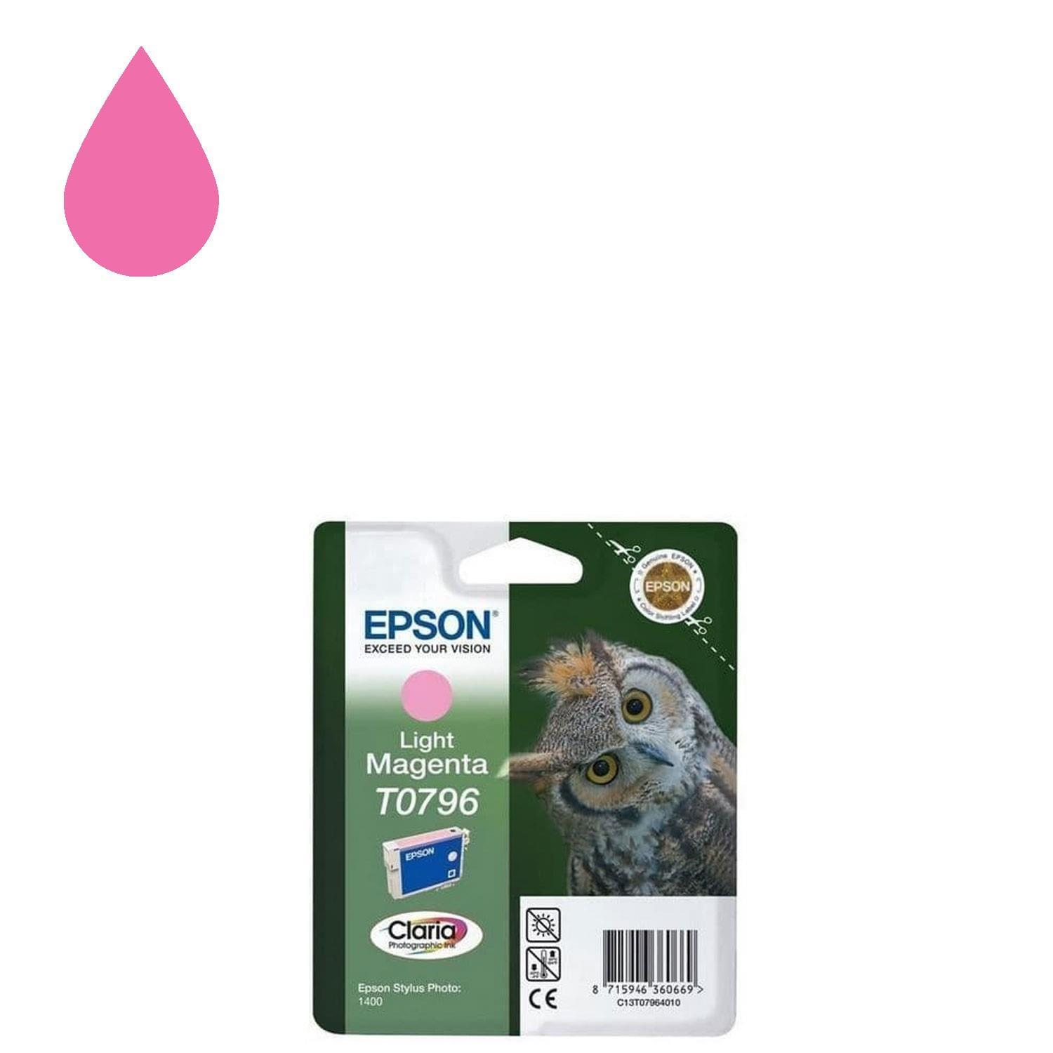 Genuine Epson Ink Owl Cartridge Light Magenta T0796 for Stylus Photo 1400 Printer