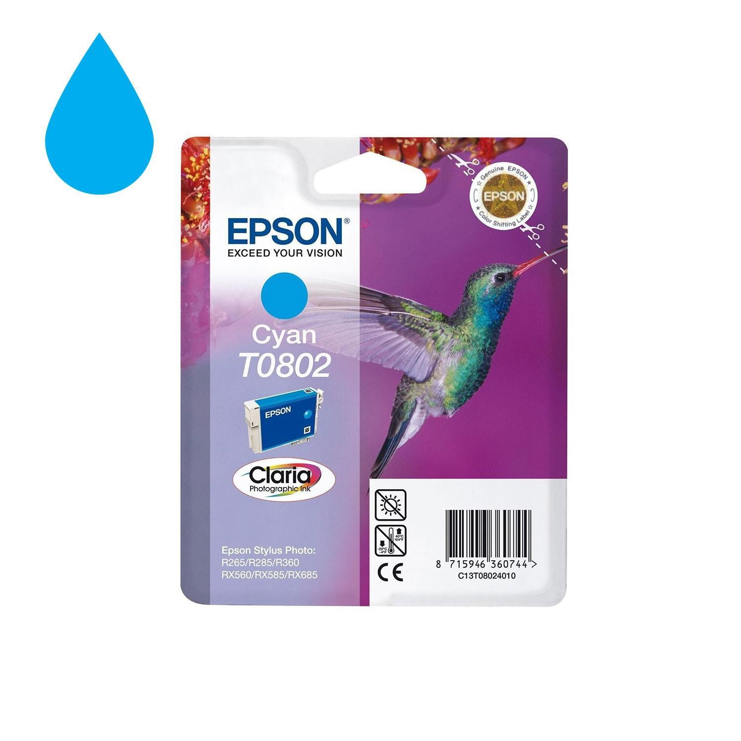 Genuine Epson T0802 Hummingbird Cyan Ink Cartridge