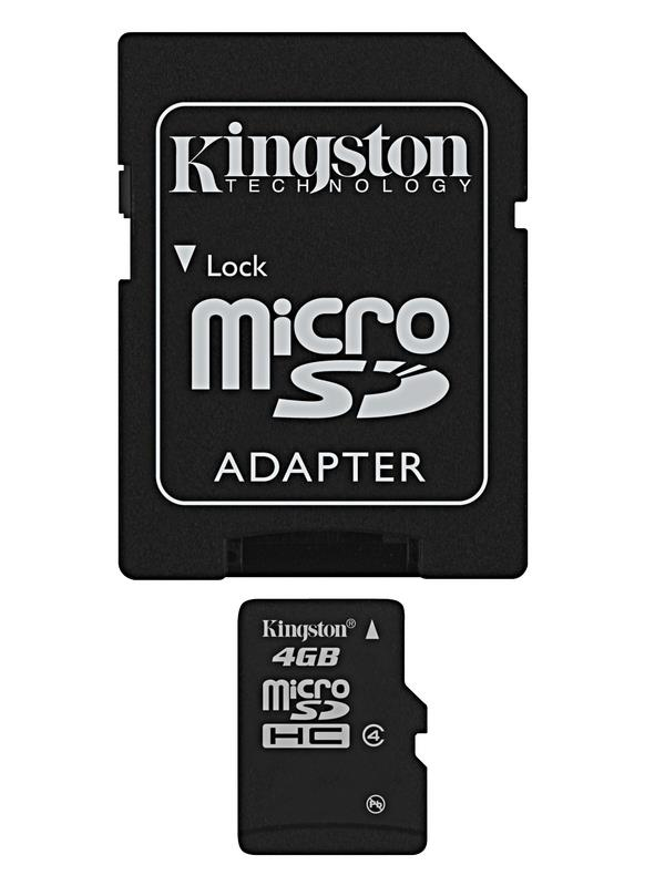 Kingston 4GB Class 4 MicroSDHC Memory Card - Full Size SD Adapter Included