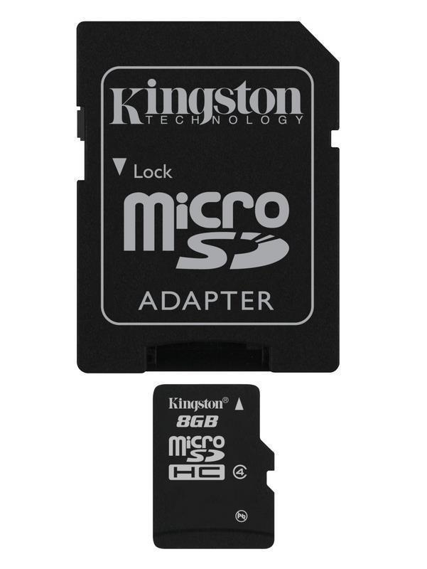 Kingston 8GB Class 4 MicroSDHC Memory Card - Full Size SD Adapter Included