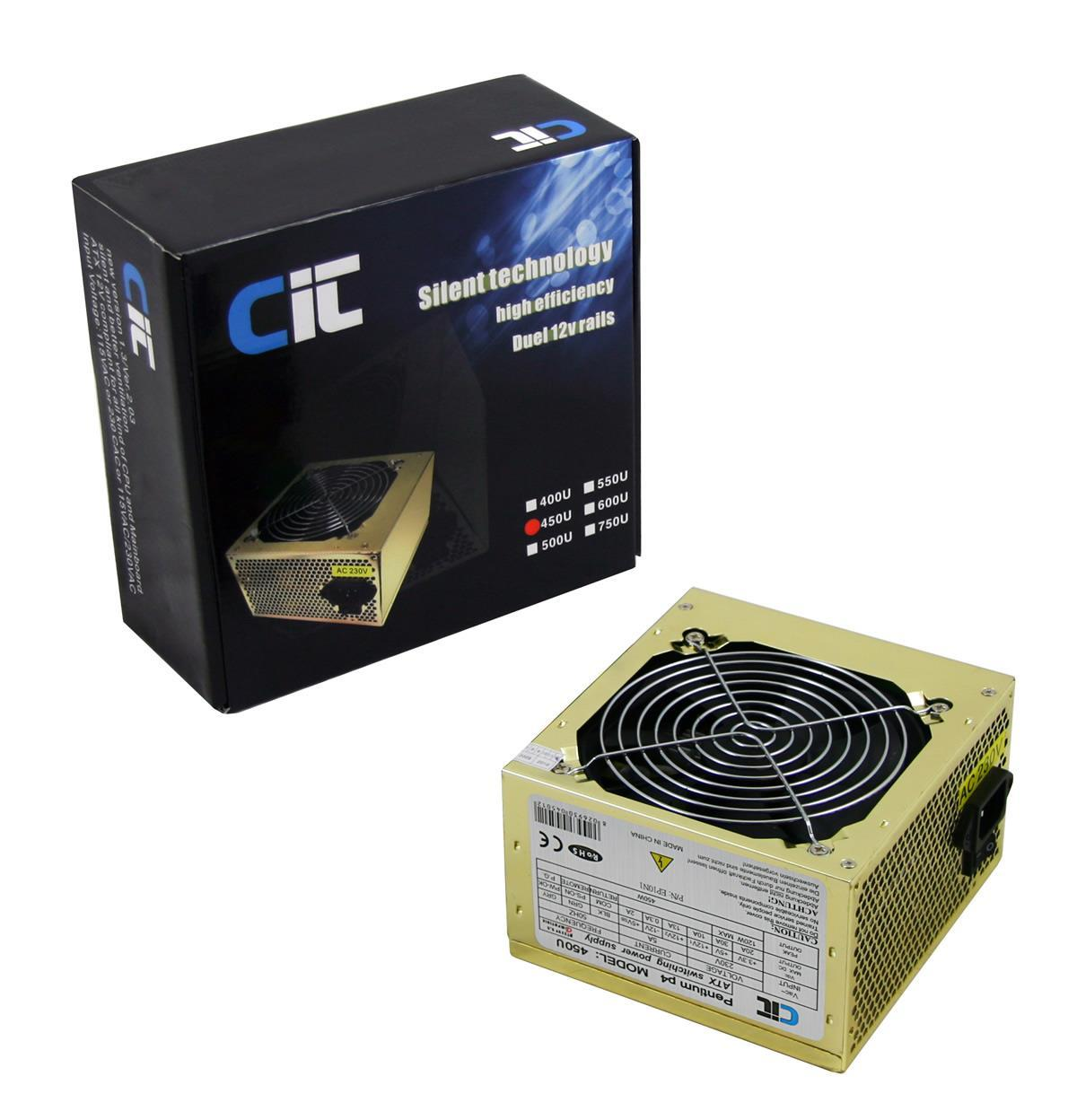 450W CiT Gold PSU with 12cm Silent Fan SATA Power Supply
