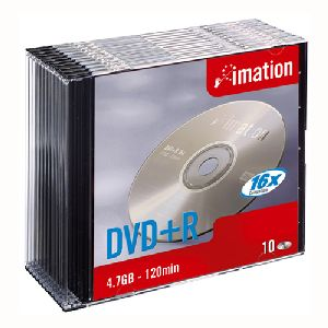 Imation 21747 DVD Recordable Media - DVD+R - 16x - 4.70 GB - 10 Pack Slim Case