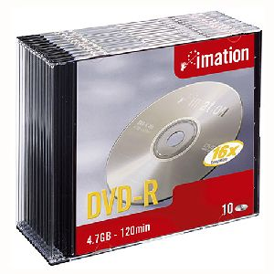 Imation 21977 DVD Recordable Media - DVD-R - 16x - 4.70 GB - 10 Pack Slim Jewel Case
