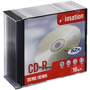 Imation 23262 CD Recordable Media - CD-R - 52x - 700 MB - 10 Pack Slim Case
