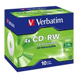 Verbatim DataLifePlus 43123 CD Rewritable Media - CD-RW - 4x - 700 MB - 10 Pack Jewel Case