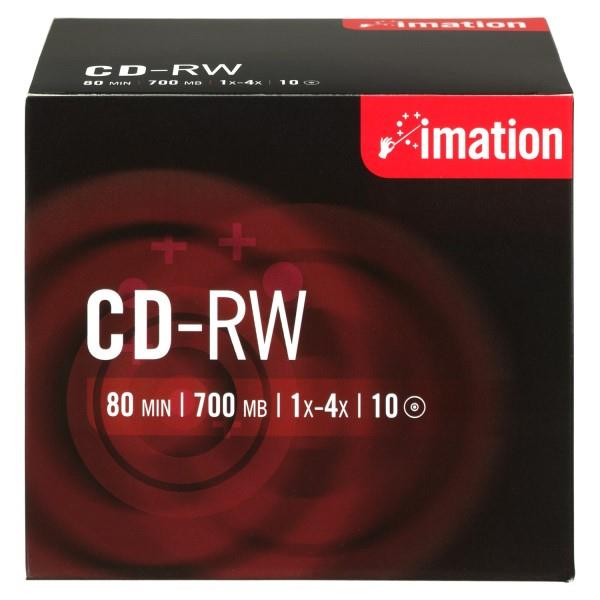 Imation i19001 CD Rewritable Media - CD-RW - 4x - 700 MB - 10 Pack Jewel Case