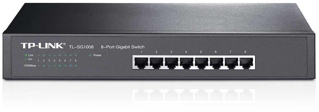 TP Link 8-port Unmanaged Gigabit Rackmount Switch (8 10/100/1000M RJ45 ports)
